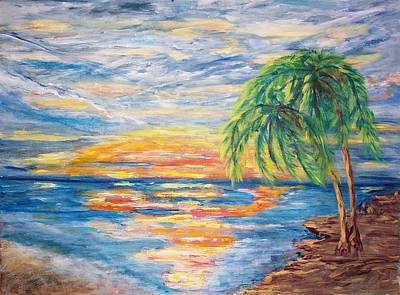 Sunset Painting - Tropical Sunset by Mary Sedici
