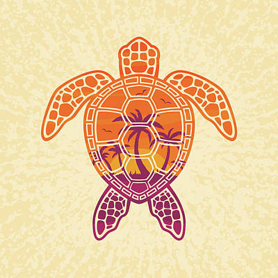 Royalty-Free and Rights-Managed Images - Tropical Sunset Sea Turtle Design by John Schwegel