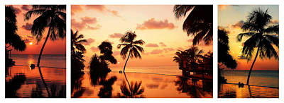 Photograph - Tropical Sunset. Triptych by Jenny Rainbow