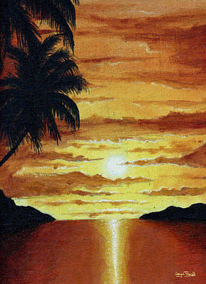 Tropical Sunset Art Print by Wayne Pascall