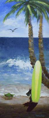 Painting - Tropical Surfboard by Jamie Frier