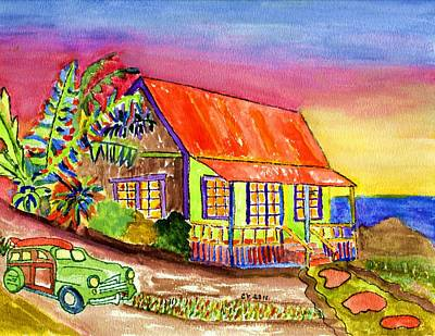 Tropical Surfing House Original by Connie Valasco