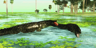 Aquatic Digital Art - Tropical Uberabasuchus Marine Reptiles by Corey Ford