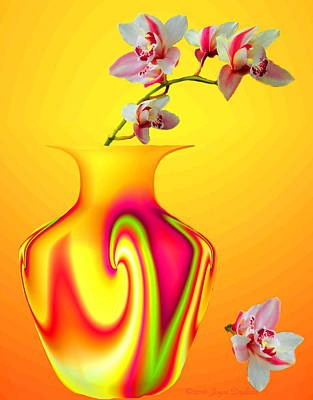 Photograph - Tropical Vase And Orchids by Joyce Dickens