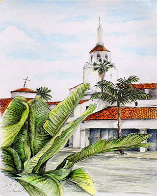 Drawing - Tropical View Arlington Theater Santa Barbara by Danuta Bennett