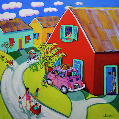 Painting - Tropical Village - Welcome Home by Rebecca Korpita