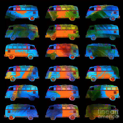 Bus Photograph - Tropical Vw Surfer Vans by Edward Fielding