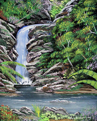 Tropical Waterfall 2 Art Print by Luis F Rodriguez