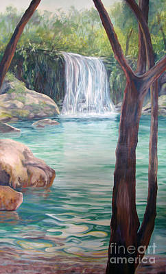 Painting - Tropical Waterfall by Nancy Isbell