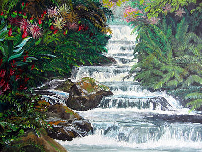 Painting - Tropical Waterfall by Sarah Hornsby