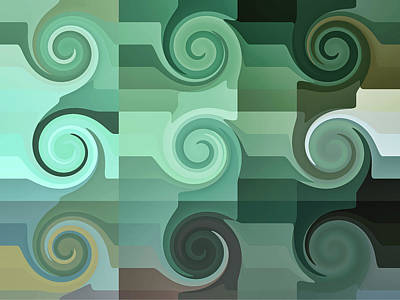 Digital Art - Tropical Wave Swirls Abstract by Kathy K McClellan