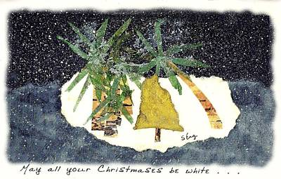 Friend Holiday Card Mixed Media - Tropical White Christmas Wishes by Sharon Eng