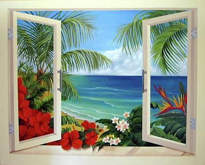 Tropical Window Art Print