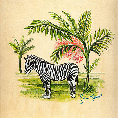 Tropical Zebra Art Print by John Keaton
