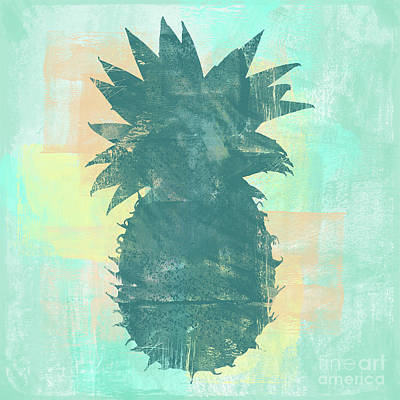 Pineapple Wall Art - Digital Art - Tropicalifornia, Sponge Painted Abstract Tropical Pineapple by Tina Lavoie