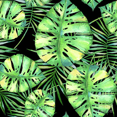 Palm Frond Painting - Tropics Noir, Tropical Monstera And Palm Leaves At Night by Tina Lavoie