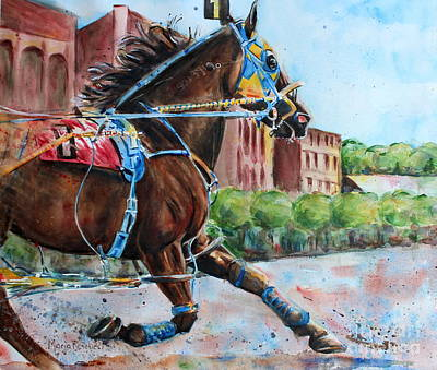 Trotting Painting - trotter standardbred Horse at the Little Brown Jug by Maria's Watercolor