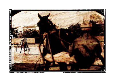 trotting 1 - Harness racing in a vintage post processing Art Print