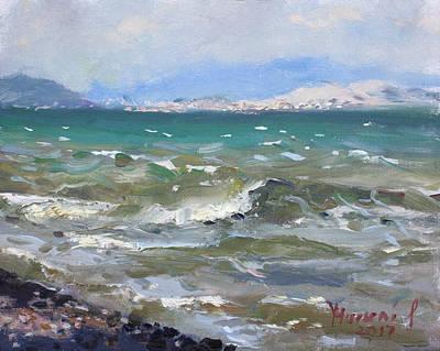 Aegean Painting - Troubled Aegean Sea Greece by Ylli Haruni