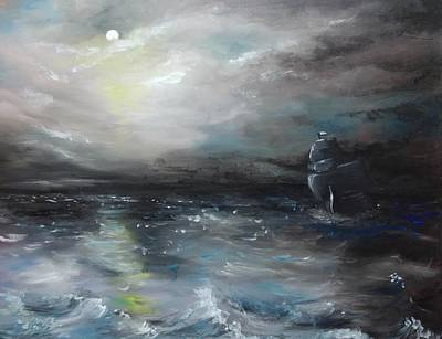 Art Print featuring the painting Troubled Waters by Isabella F Abbie Shores FRSA