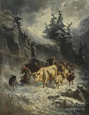 Troupeau Painting - Troupeau Dans Une Tempete De Neige by Celestial Images