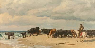 Troupeau Painting - Troupeau De Boefs Au Bord De La Mer by Burnand Eugene