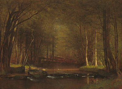 Brook Trout Painting - Trout Brook In The Catskills by Worthington Whittredge