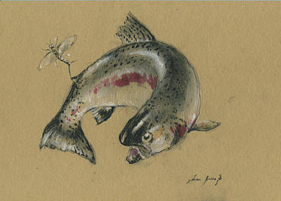 Trout Wall Art - Painting - Trout Eating by Juan Bosco