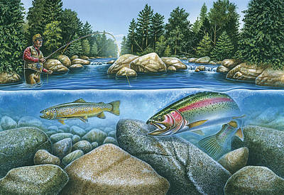 Angling Painting - Trout View by JQ Licensing