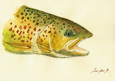 Fishing Wall Art - Painting - Trout Watercolor Painting by Juan  Bosco