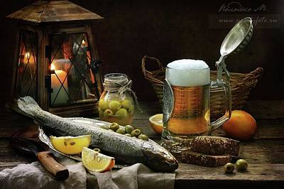 Photograph - Trout With Beer And Olives by Marina Volodko