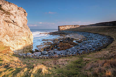 Trow Rocks Sea Bay Print by David Head