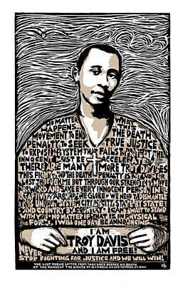 Row Mixed Media - Troy Davis by Ricardo Levins Morales