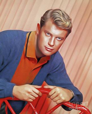 Painting - Troy Donahue, Vintage Actor by John Springfield