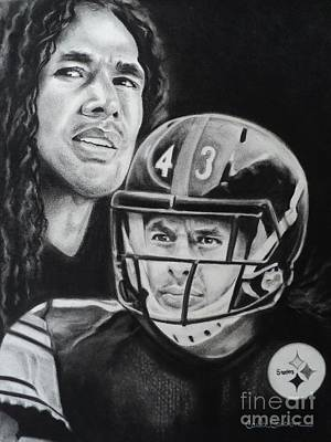 Football Safety Drawing - Troy Polamalu Of The Pittsburgh Steelers by Carla Carson