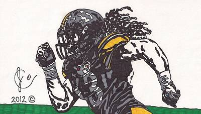 Steelers Drawing - Troy Polomalu 2 by Jeremiah Colley