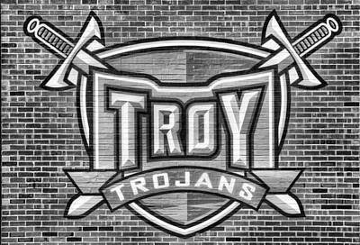 Photograph - Troy Trojans Black And White by JC Findley