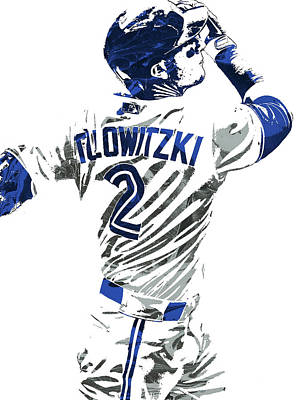 Gloves Mixed Media - Troy Tulowitzki Toronto Blue Jays Pixel Art 2 by Joe Hamilton
