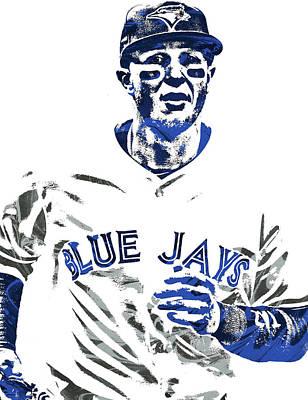Toronto Blue Jays Mixed Media - Troy Tulowitzki Toronto Blue Jays Pixel Art by Joe Hamilton