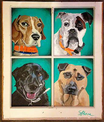 Painting - Troy's Dogs by Sarah LaRose Kane
