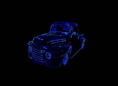 Mixed Media - Truck Art Neon Blue by Lesa Fine