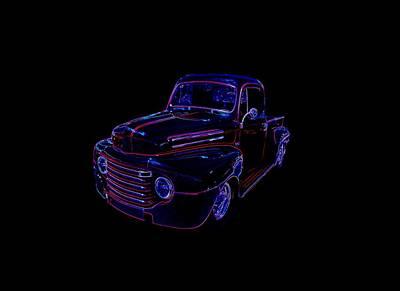 Mixed Media - Truck Art Neons Red by Lesa Fine