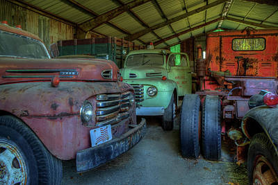 Photograph - Truck Graveyard Warehouse by Jerry Gammon