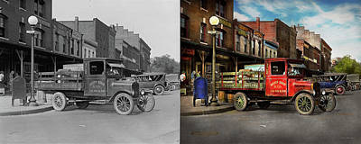 Art Print featuring the photograph Truck - Home Dressed Poultry 1926 - Side By Side by Mike Savad