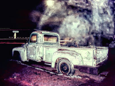 Photograph - Truck In Night's Fog by Cathy Anderson