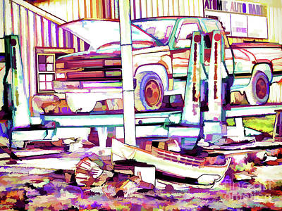 Service Garage Painting - Truck In The Garage by Lanjee Chee
