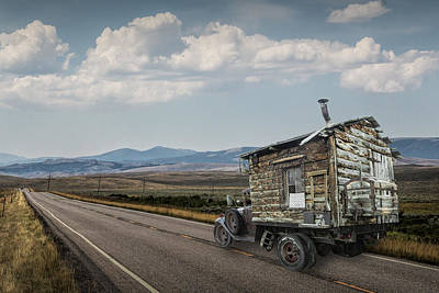 Truck Motor Home Traveling On The Road Art Print by Randall Nyhof