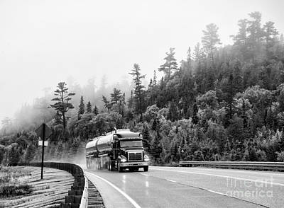 Photograph - Truck On Foggy Highway by Les Palenik
