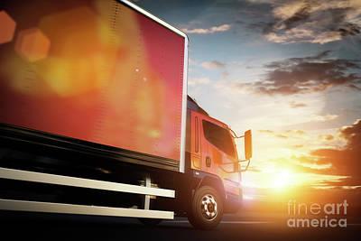 Freeway Photograph - Truck Speeding On The Highway. Transportation by Michal Bednarek