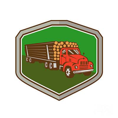 Truck Vintage Logging Shield Retro Art Print